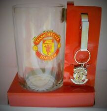 85785 MANCHESTER UNITED FC GLASS BEER STEIN KEYRING SET PREMIER LEAGUE SOCCER