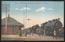 Postcard RENO NV  S.P. Railroad Train Station Depot & Overland Locomotive 1907