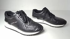 $135 size 5.5 Michael Kors Alison Trainer Black Leather Womens Sneakers Shoes