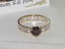 Gems en Vogue Sterling & 18k Gold embraced Garnet Heart Ring  New  Size 7