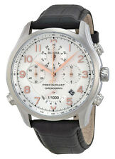 Bulova 96B182 Men's Precisionist Leather Band Silver Dial Chronograph Watch
