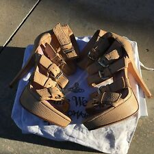 Vivienne Westwood Ava Nude Leather Stiletto Heels Open Toe Cage Sandals 36
