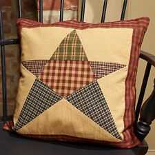 """Primitive Country Rustic 16"""" Rebbecca's Star Patchwork Farmhouse Throw Pillow"""