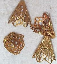 VINTAGE FINE FILIGREE BRASS JEWELRY CONES CAPS FINDINGS   10 PCS FOR DESIGN WORK