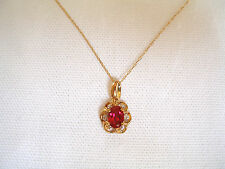 .86 Ct. Created Ruby Solitaire & Diamond  10k Gold Pendant & Necklace