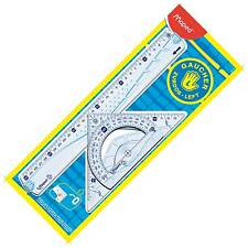 Maped Left Handed maths geometry set, set square, protractor, back to school set