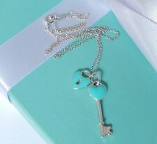 Tiffany & Co Silver Blue Enamel Key Hole Heart Lock & Heart Key Pendant Necklace