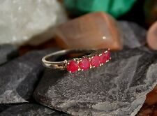 Beautiful Vintage 925 Sterling Solid Silver Ruby Stone Half Eternity Ring