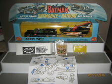 Corgi Batmobile 267 gift set 3 early batmobile 1967 type and very good boat.