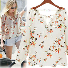 Fashion Women Summer Casual Long Sleeve Tether Blouse Chiffon Floral T-Shirt Top