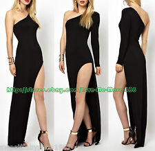 High Split One Shoulder SOLID Bodycon Maxi Club Party Cocktail Dresses BLACK 2XL