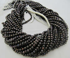 """AAA Quality Natural Black Pearl Round Shape Beads ,15-16"""" Strand , FREE SHIPPING"""