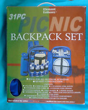 31pc blue canvas PICNIC BACKPACK w/ WINE TOTE, Service for 4 by Elegant Leisure