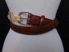 Ralph Lauren Leather Belt Brown Croc Embossed Silver Tone Buckle Size Small #718