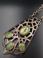 Jugendstil Arts & Crafts Secessionist Necklace Germany Flora Glass Cabochons Big