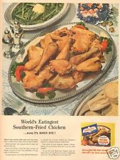 40's vintage SOUTHERN Fried Chicken BISCUIT Birds Eye KITCHEN Cooking Cook AD