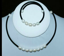 7-8MM White Akoya Cultured Pearl Necklaces Bracelet Jewelry Set