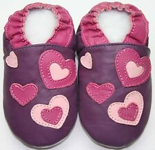 Minishoezoo hearts purple 12-18m soft sole walking leather shoes baby girl