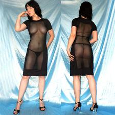 durchsichtiges ABENDKLEID* L 44 * Tüll Stretchkleid schwarz* Cocktailkleid