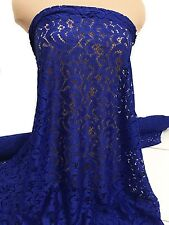 "STRETCH LACE FABRIC ROYAL BLUE 58/60""  BY THE YARD /PAGEANT FORMAL DRESS"