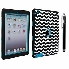 E LV iPad 4 3 2 Case Cover -Shock-Absorption / High Impact Resistant ZIGZAG Blue