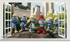 The Smurfs Family 3D Window Removable Wall Decals Kids Decor Nursery Sticker Art