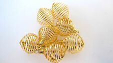 Coil GOLDTONE Spiral Cage 25mm QTY7 Jewelry Charm Pendant Healing Crystal