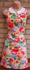 PRIMARK PEACHY PINK ORANGE GREEN FLORAL A LINE SKATER VTG TEA RARE DRESS 20