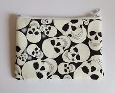 Glow In The Dark Skulls Fabric Handmade Zippy Coin Purse Storage Pouch