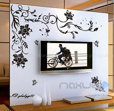 New Large Black Flower Vine Butterfly decor Removable Wall Decals Sticker Mural