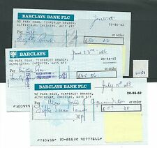 wbc. - CHEQUE - CH1051 - USED -1980's- BARCLAYS, TIMPERLEY, CHESHIRE - 3 diff