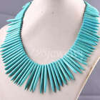 """Free Shipping Blue Turquoise Needle Beads Necklace 18""""L TE002"""