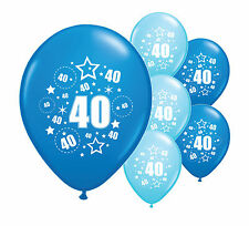"""10 x 40TH BIRTHDAY BLUE MIX 12"""" HELIUM OR AIRFILL BALLOONS (PA)"""