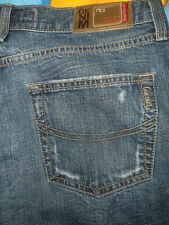 087 COLINS JEANS Low Waist Semi-Flare 33x34 designer faded Distressed Denim