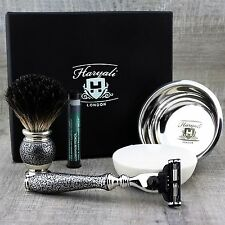 4 PIECE SHAVING SET Black Badger Brush & Gillette Mach3 & bowl MENS GROOMING KIT