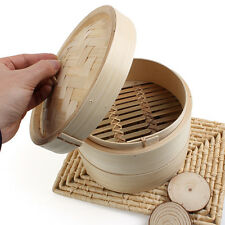 2 Tier Bamboo Steamer Chinese Dim Sum Basket Rice Pasta Cooker Set with Lid 7''