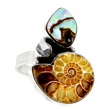 Fossil Ammonite & Abalone Shell 925 Sterling Silver Ring Jewelry s.8 SR210993