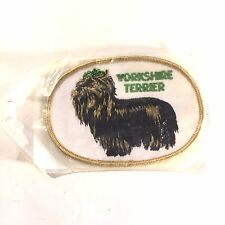 """Vtg Yorkshire Terrier Dog Green Bow Embroidery Applique Voyager Patch 4.25"""" X 3"""""""