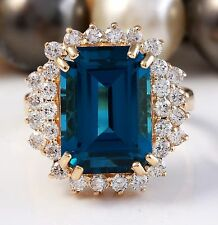 10.51 CTW Natural London Blue Topaz and Diamonds in 14K Yellow Gold Ring