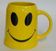 Happy Smiley Face ~ Yellow Ceramic ~ Large Coffee Cup Mug Stein ~ Decoration