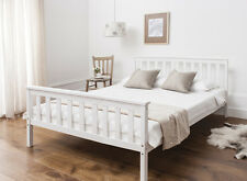 Double Bed in White 4'6  Wooden Frame WHITE