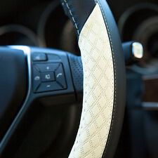 Luxury Genuine Leather It58014 Black White Steering Wheel Cover Cadillac Fiat