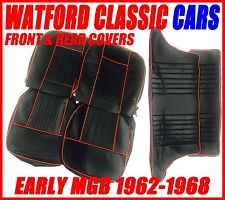 MGB Seat Covers Front & Rear 1962-1968 Leather look All Black with Red Piping