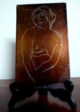 Henry de Waroquier. Acier original gravé pour la revue Byblis? Femme dénudée.