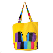 Women Casual Handbag - Yellow Cotton