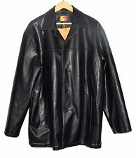 Iron Hammer Black Pebbled Thick Faux Leather Mens Jacket w/ Flannel Lining Sz XL
