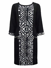New-Black and White Zebra Print Shift Dress-Knee Length-Sleeves-Medium 12/14