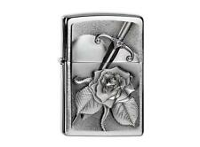 """ZIPPO """"SWORD with ROSE"""" BRUSHED CHROME LIGHTER / 2004311 ** NEW in BOX **"""