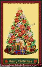"""LARGE CHRISTMAS TREE POINSETTIA TOYS PACKAGES WALL HANGING FABRIC PANEL 34""""X 58"""""""