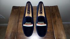 "SUPER RARE! $495 Stubbs & Wootton Blue Velvet ""HOUSEBOAT"" Slippers Loafers Shoes"